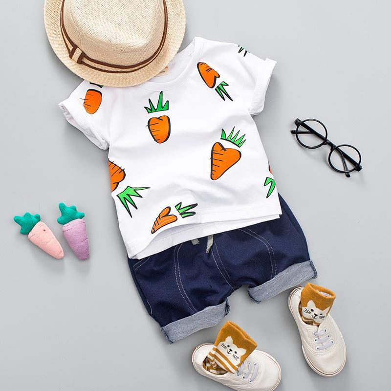 Kid Boy Girl Ropa de verano Set 1 2 3 4 Años Bebé Casual Rábano Imprimir Camisa Ropa Linda caricatura School Bag Boys Suit Q190523
