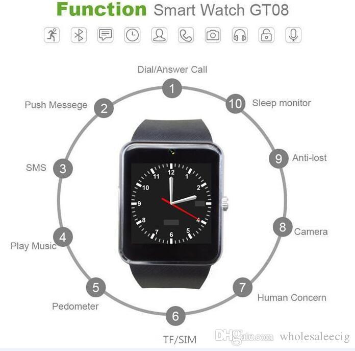 شاشة GT08 الذكية ووتش اللمس ساعة ذكية الرياضة مقياس الخطو للياقة البدنية المقتفي الروبوت مكالمة هاتفية فتحة بطاقة SIM دفع رسالة مع باقة 2020