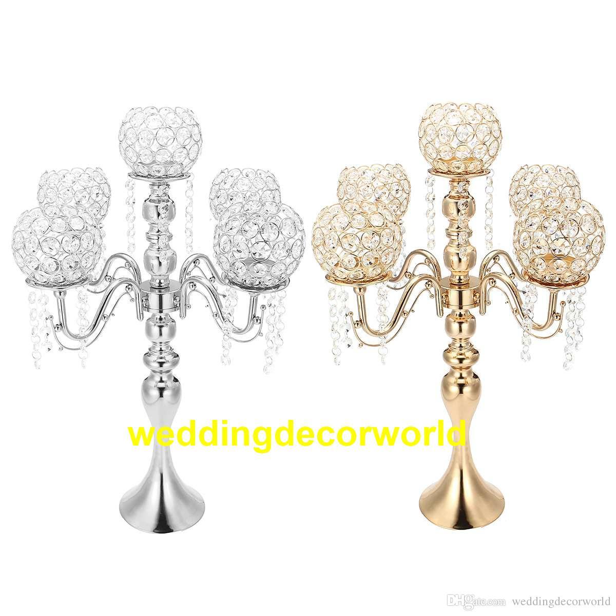 5 arm Crystal Candle Holder Wedding Candelabra Centerpieces Center Table Candlesticks Party Decor Lantern stand Silver/Gold event decor449