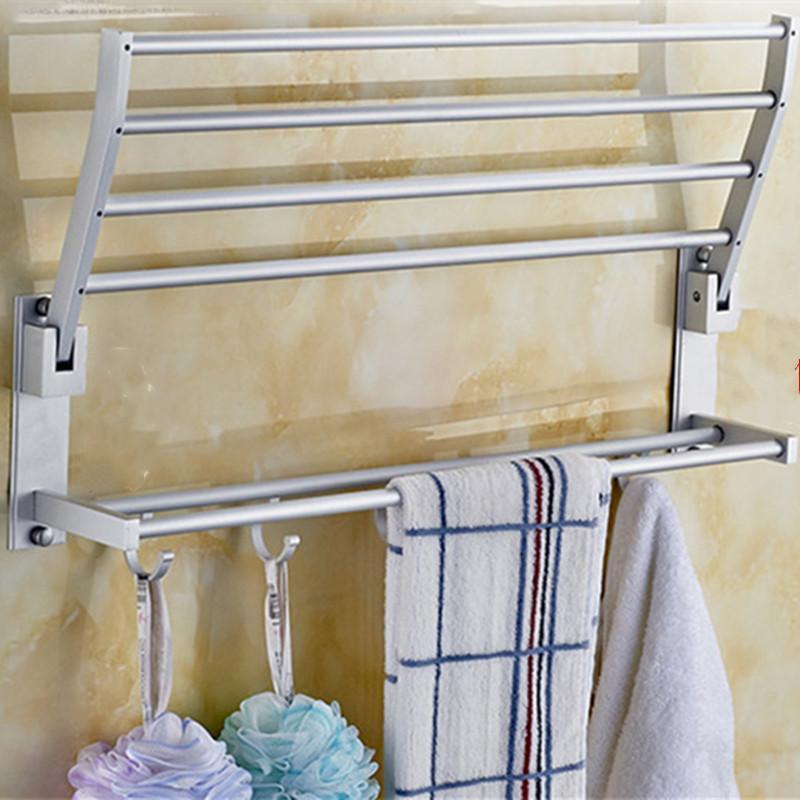 2 camadas titular toalha titular toalha de alumínio Acessórios de Banho Espaço para supplie banheiro cremalheira