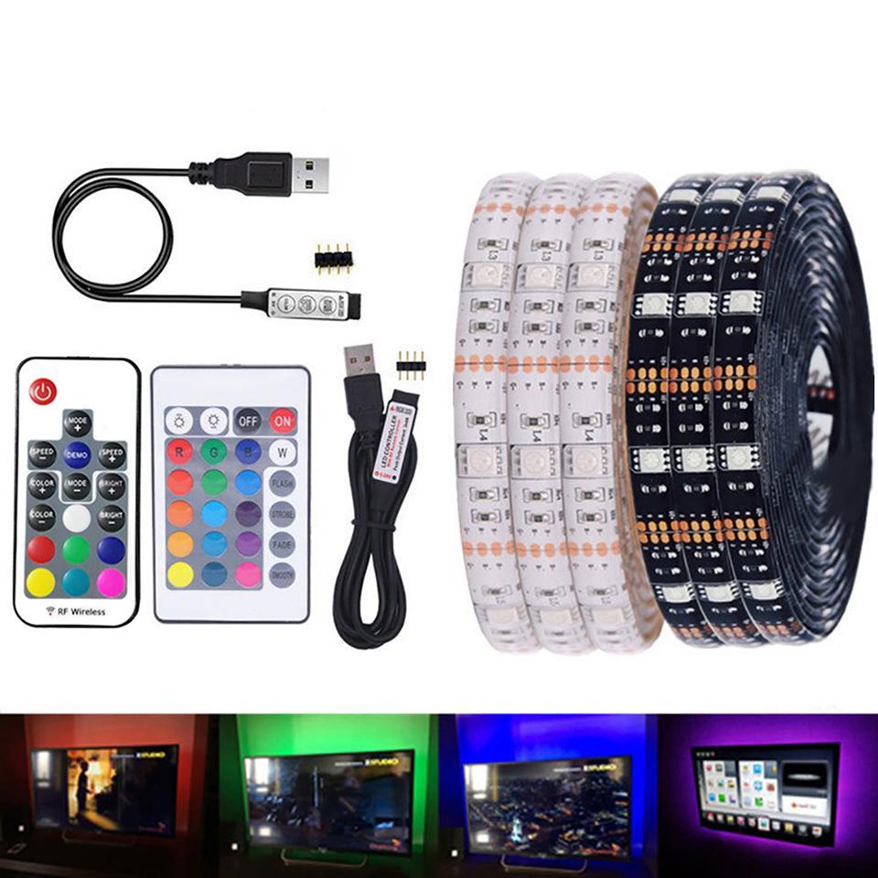 5050 RGB Faixa de LED impermeável DC 5V USB LED Light tiras de fita flexível 1M 2M 3M 4M 5M adicionar remoto para o fundo TV