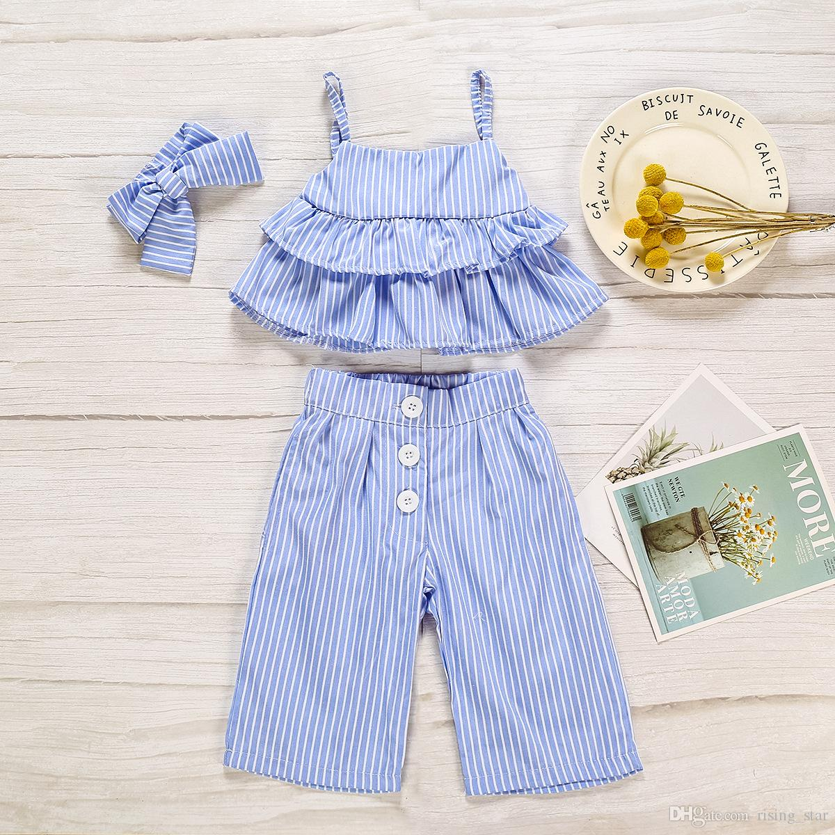 new Spring Summer Kids Clothes Baby Girls Clothing Sets Sling shirt+Trousers+Scarf 3-piece Sweet Girl Suit Free transportation