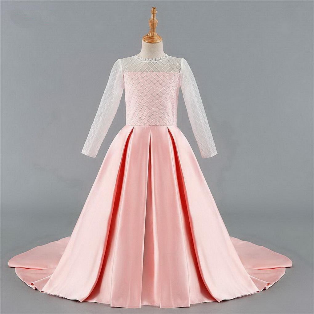 Новые милые розовые девушки цветка платья для мантии шарика Свадьбы с длинными рукавами сатин кружево лук Длинные платья для первой евхаристии для маленькой девочки