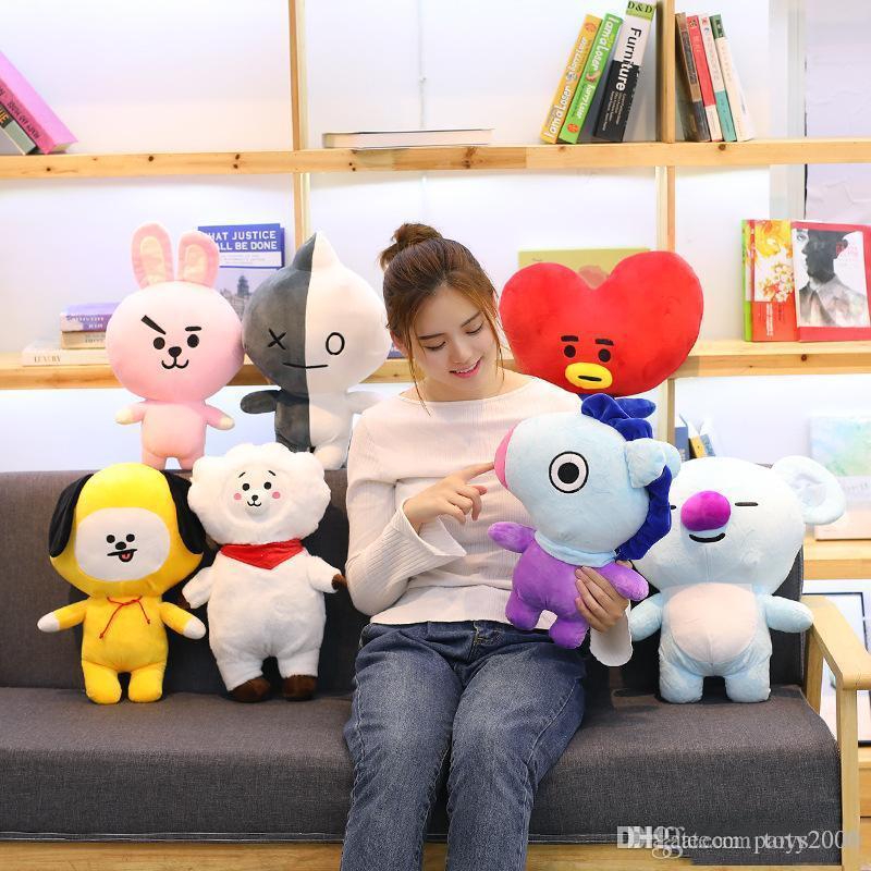 Los nuevos estilos BT21 juguetes de felpa a prueba de balas grupo de jóvenes almohada animales de peluche muñecos de peluche almohada creativa muñeca al por mayor