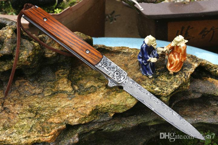 En soldes! Couteau pliant Flipper VG10 Lame en acier damassé, manche en palissandre, roulement à billes, couteaux pliants à ouverture rapide