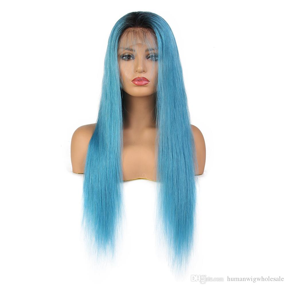Wholesale Real Human blue Straight FulllaceWig Selling directly from Factory With Best Quality Tangle free Glueless Wig Via Fast Shipping