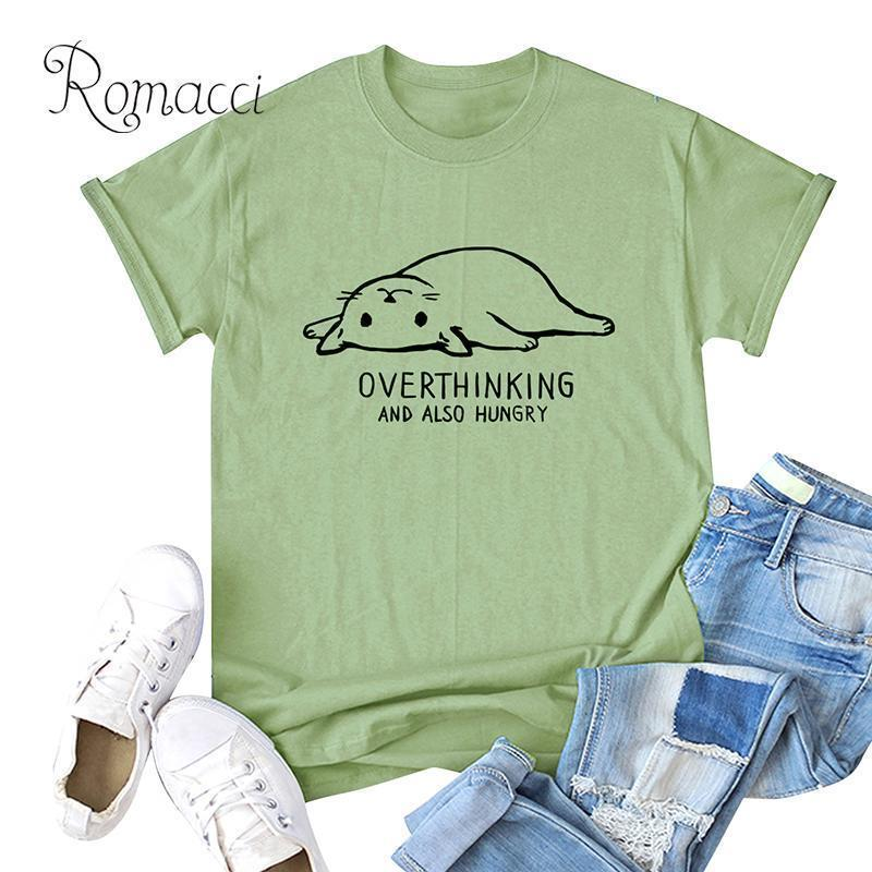 Romacci Womens Oversized T-shirt Contrast Cat Print Plus Size Cotton T Shirt O Neck Short Sleeve Lovely Casual Summer Top C19041001