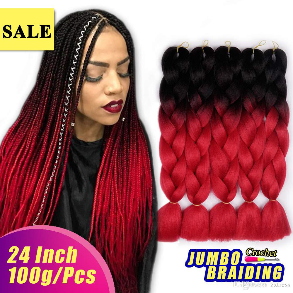 Black Red 24 Xpression Synthetic Hair Braids High Temperature Fiber Ombre  Kanekalon Braiding Hair Extensions Wholesale Jumbo Braiding Hair Bulk Human