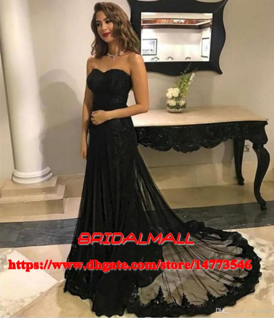 23c45452b01 Sweetheart Neck Black Lace African Evening Dresses 2019 Elegant Formal  Party Gowns Detachable Train Long Prom