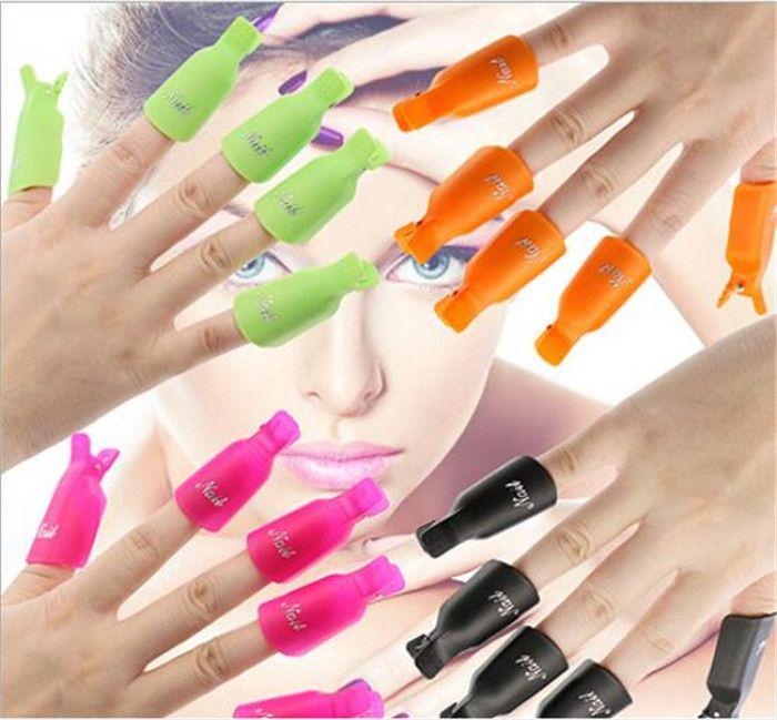50set 10pcs/set Plastic Nail Art Soak Off Cap Clip UV Gel Polish Remover Wrap Tool Nail Art Tips For Fingers X161