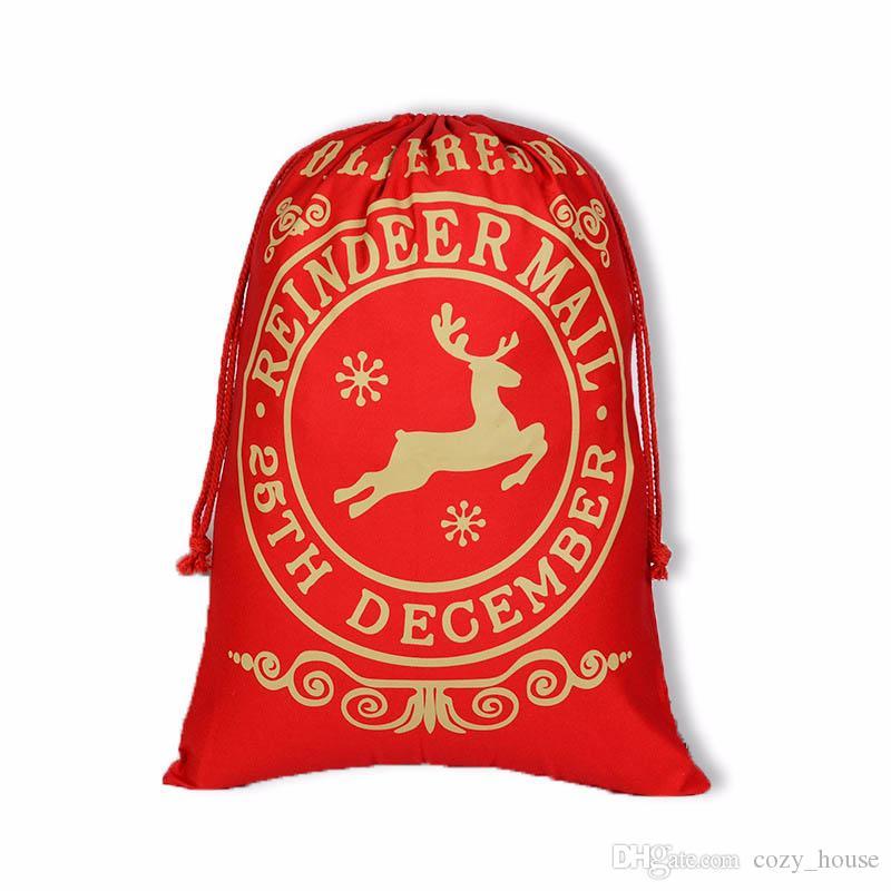 Presente de Natal Bolsas grande e pesado Organic Bolsa de Santa Sack Drawstring saco com renas Papai Noel Saco Sacos para Crianças