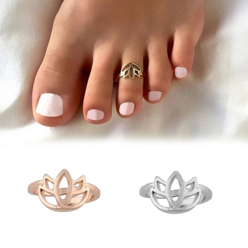 Wholesale Toe Ring Summer Lotus Flower Adjustable Open Foot Finger Ring Jewelry Accessories Gift