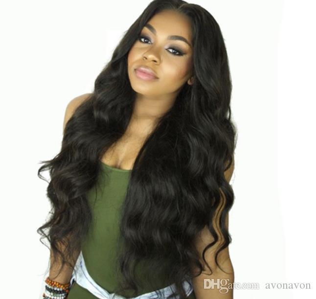 Siyah Kadınlar FZP148 için Bebek Saç Isıya Dayanıklı Gluelese Sentetik Dantel Açık Peruk ile ücretsiz% 180 Yoğunluk Siyah Vücut saç Dalga Uzun Peruk