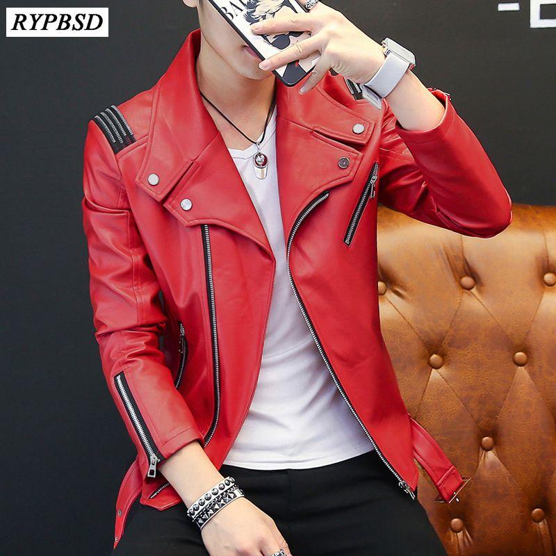 PU мужские кожаные куртки Классический дизайн Новый 2019 Мода Красный Белый Черный Осень Тонкий Zipper Biker Jacket Men Кожезаменитель Coat