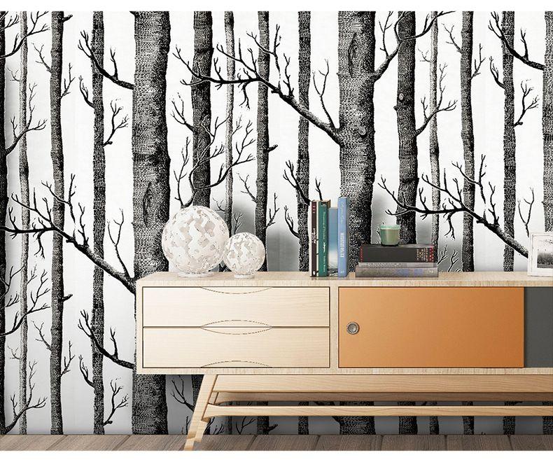 1 개 많은 = 거실 TV 배경 벽 숲에 대한 10M 롤 흑백 wallpaeper 나뭇 가지 배경 화면 3D 현대 비닐 벽 종이