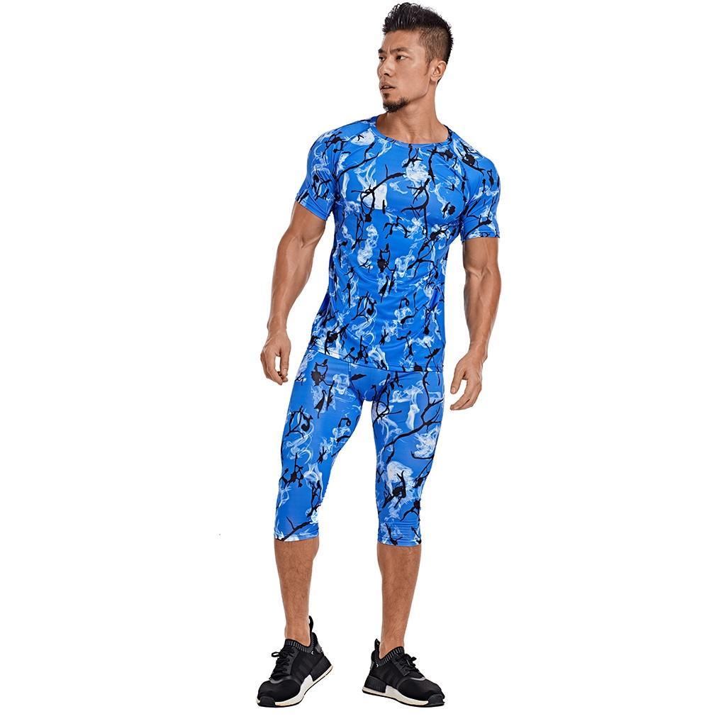 koşu Suits Giyim Spor Seti t gömlek Ve Pantolon Gym Fitness egzersiz Tayt giyim 2adet Koşu Erkekler Sıkıştırma / Takımları Baskı