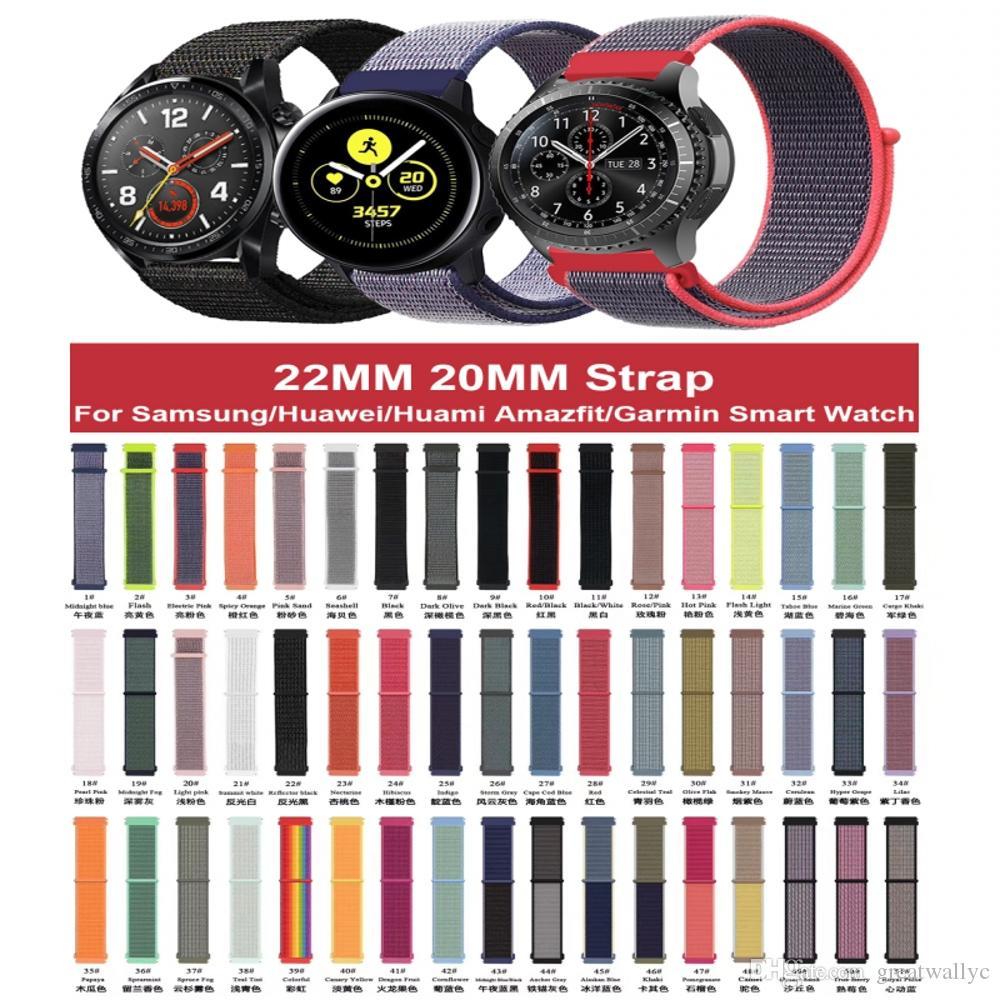 나일론 시계 스트랩 삼성 갤럭시 42mm의 46mm 기어 S3 스포츠 활동이 22mm의 20mm 손목 시계 나일론 스포츠 루프 밴드