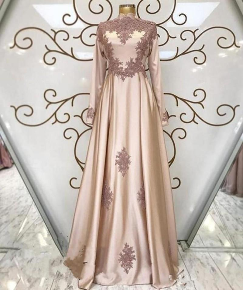 Elegant Islam Muslim Evening Dresses Long Sleeves High Neck A Line Lace Applique Prom Dress Plus Size Arabic Kaftan Party Gowns 2020