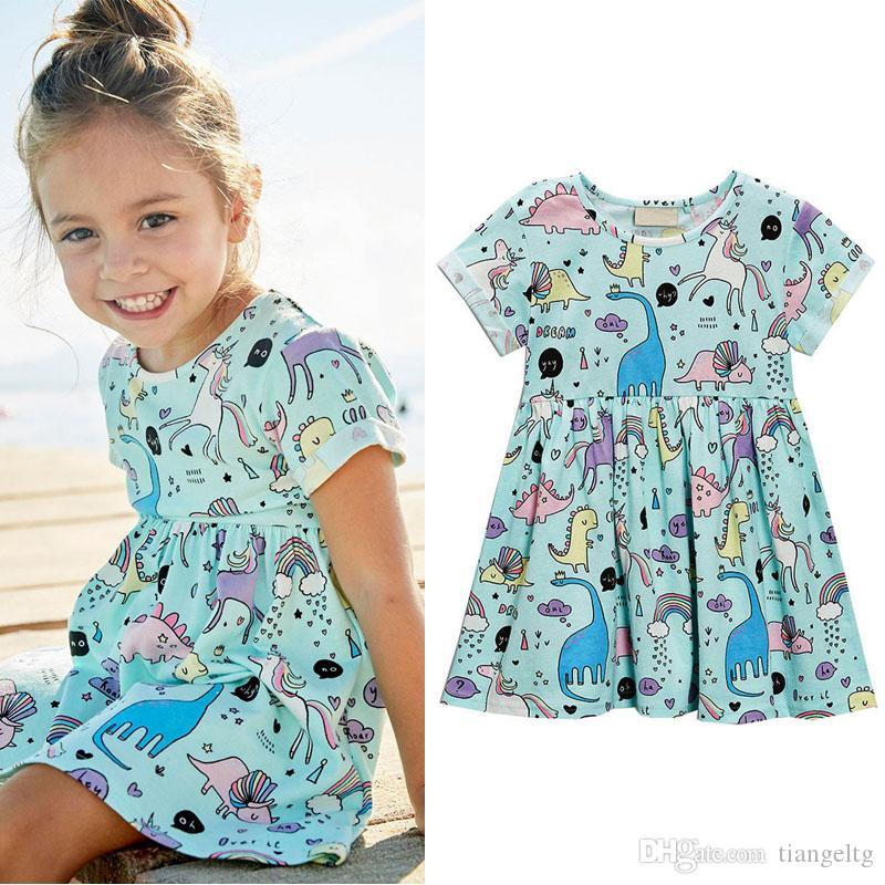 소녀 프린트 드레스 짧은 소매 코튼 크리스마스 만화 유니콘 공룡 인쇄 드레스 어린이 의류 여자 의상 18M-6T 04