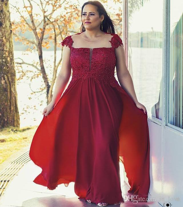 Dark Red Plus Size Mother Of Bride Dress Dress Sheer Neck Beaded Lace  Chiffon 2020 Mother Of The Groom Dress Wedding Party Gowns Mother Of The  Bride ...