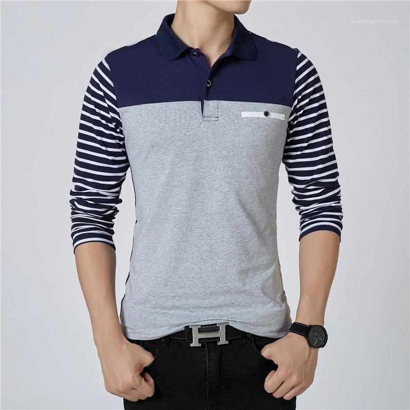 Fashion Buttons Panelled Long Sleeve Plus Size Mens Polos Casual Males Clothing Stripe Panelled Mens Designer Polos