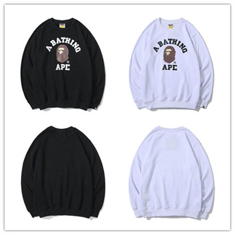 Un Baño Un mono 19Bape Jefe Negro redondo blanco cuello de la chaqueta suda Pullover Chaqueta