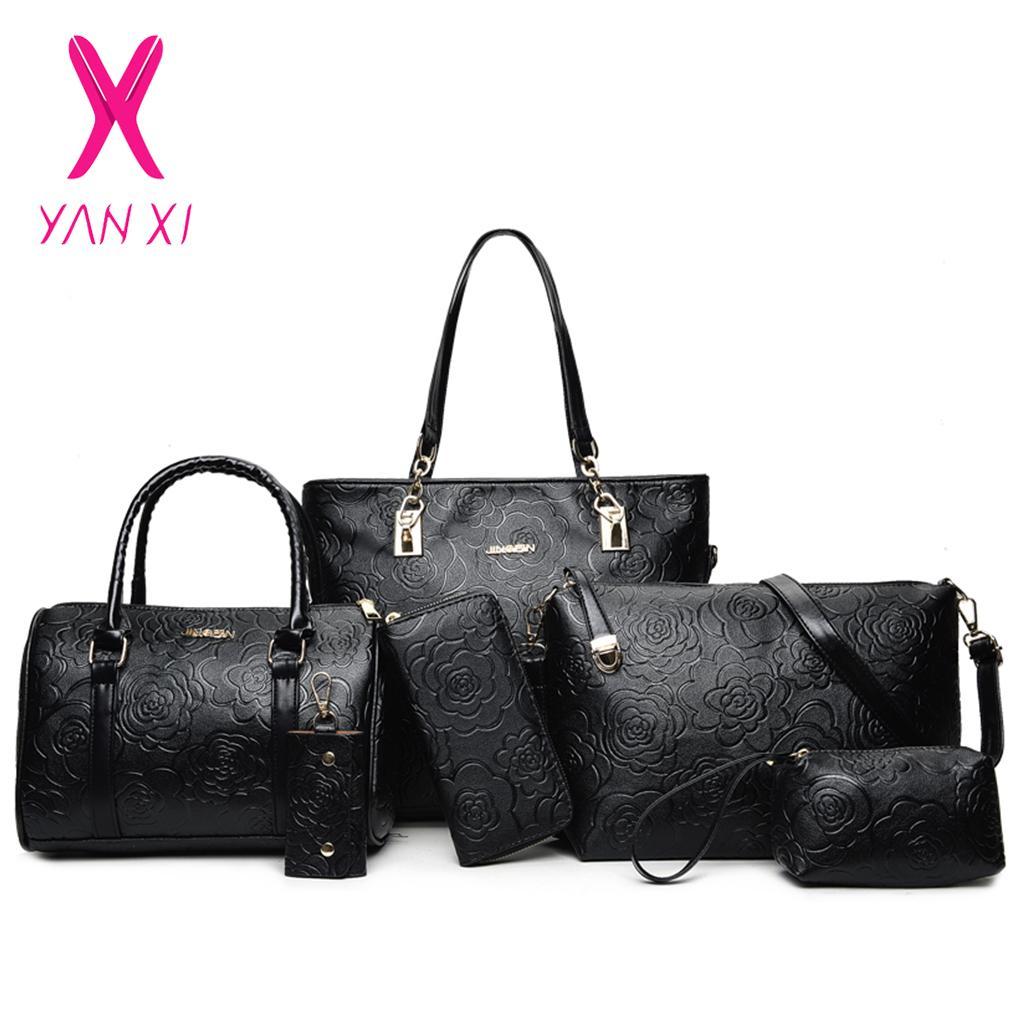 Embossed 6 Piece Set Hot Pu Leather Women Bags Floral Printing 5 Pcs Set Women Handbags Purse Cultch Composite Messenger Bags Y19061903