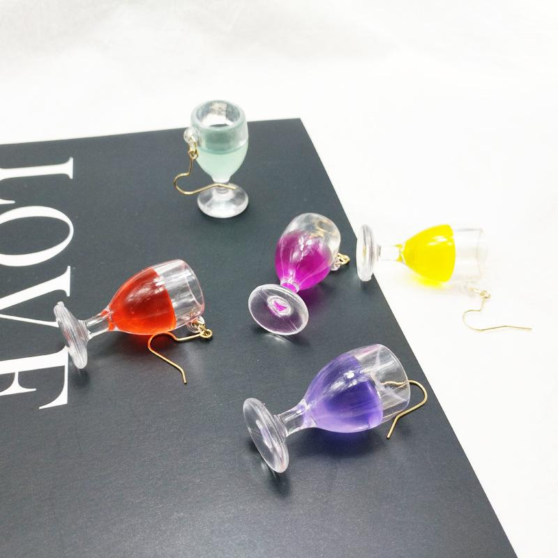 Fashion Korea Personality Resin Red Wine Goblets Drop Earrings Lovely Beer Wine Glass Cup Earrings Funny Party Girl Jewelry Gift