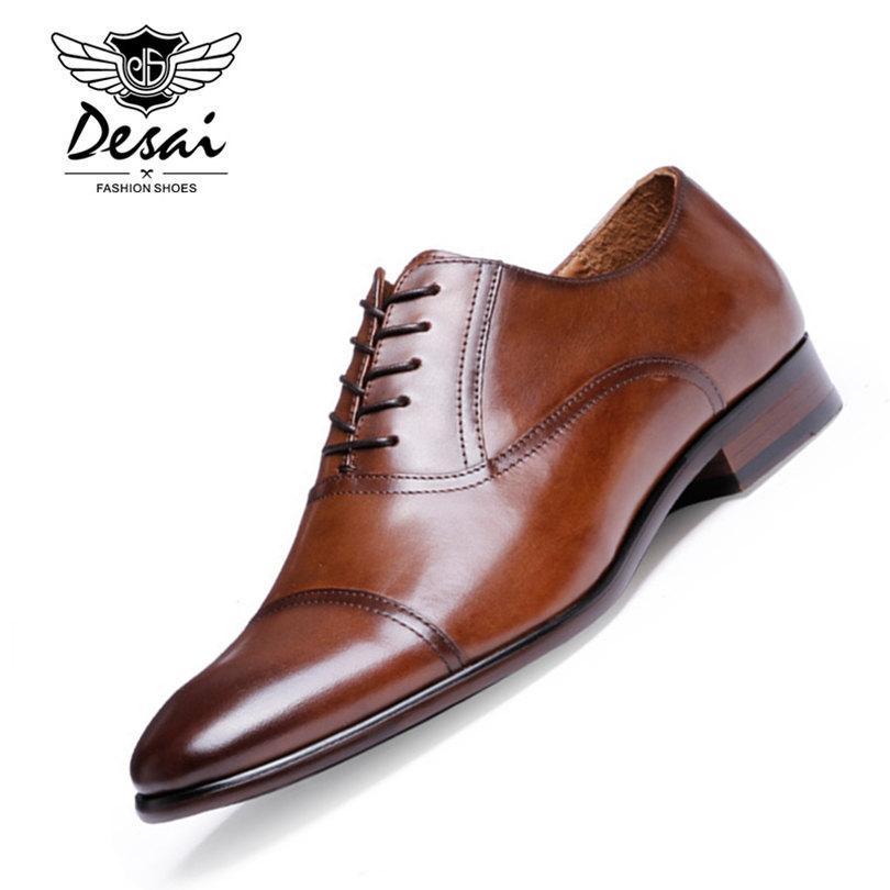 DESAI Marca de Cuero de Grano Completo Hombres de Negocios Zapatos de Vestir Retro de Oxford de Cuero de Patente Zapatos Para Hombres Tamaño UE 38-47