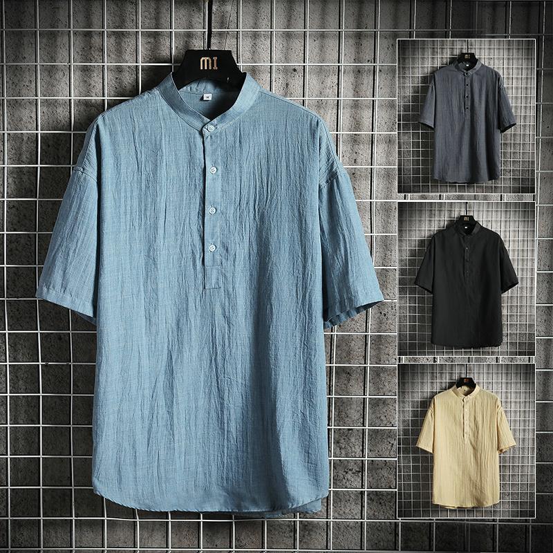 Kore Stili Mandarin Standı Yaka Erkekler Gömlek Pamuk Keten Nefes Katı Renk Tişört Kısa Kollu Düğme Gevşek Casual Tees