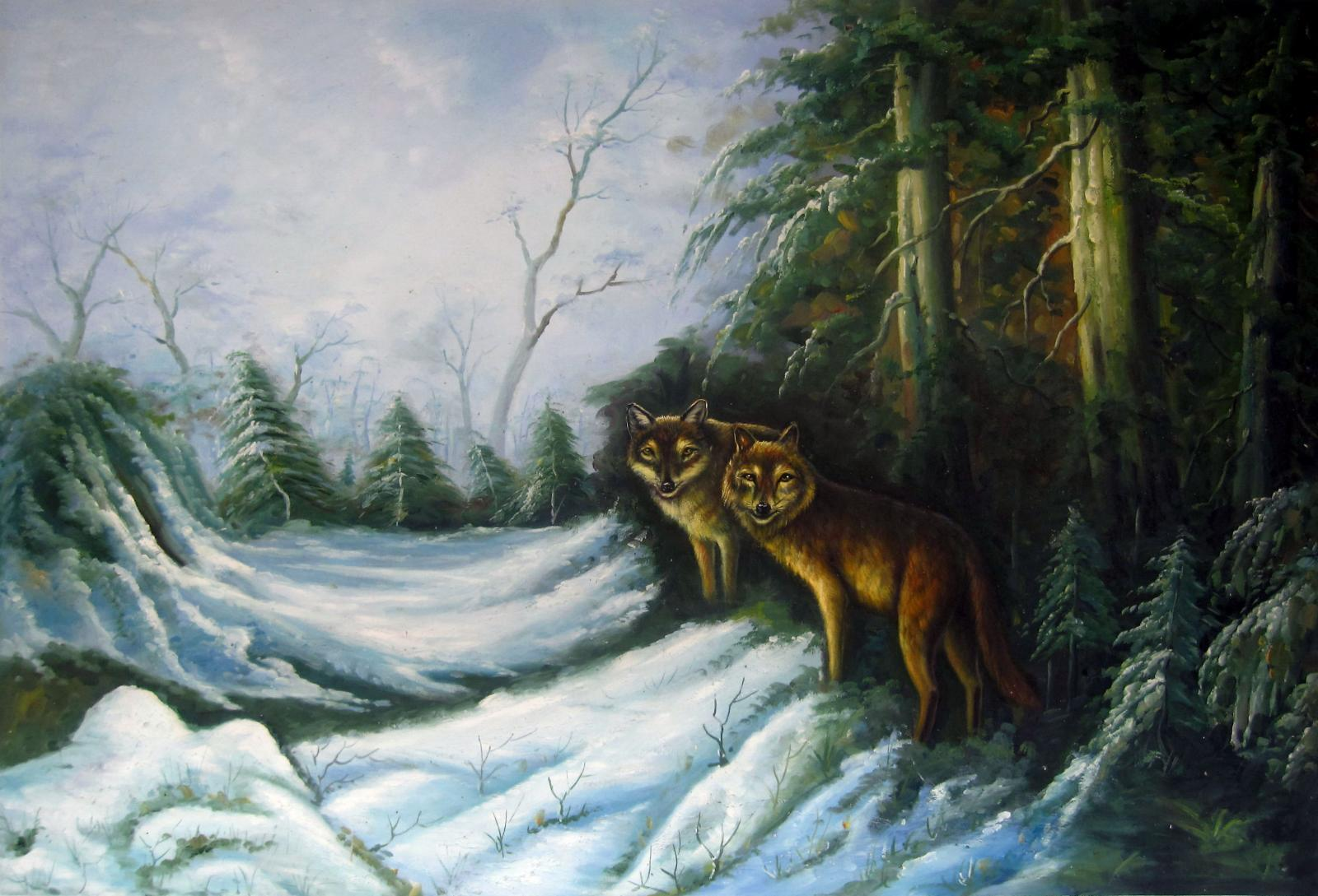 Wolf Home Decor Handpainted &HD Print Oil Paintings On Canvas Wall Art Large Pictures 191124