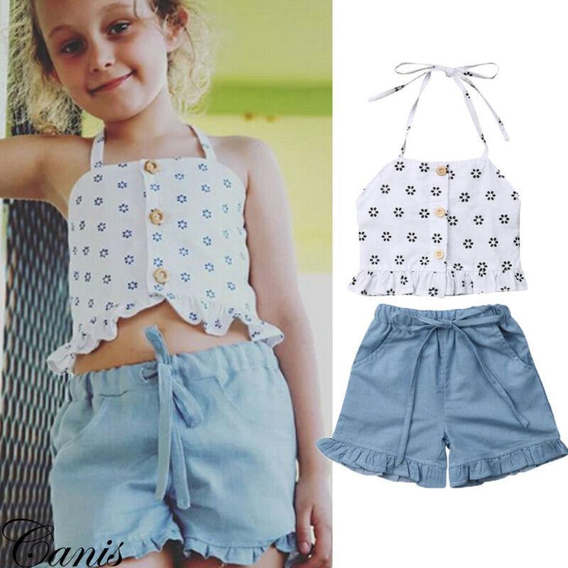 مجموعة الأطفال 2PCS صيف جديد طفل الطفل أطفال بنات وتتسابق البدلة الملابس أزياء أكمام حمالة الرضع قميص قمم + سروال