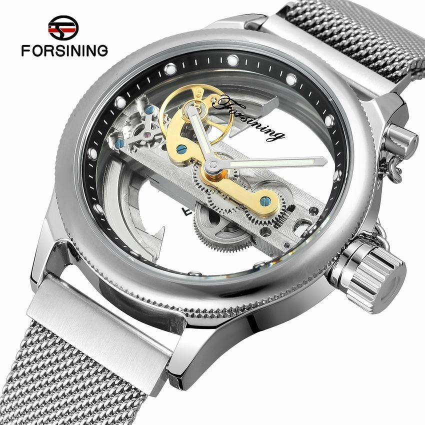 Forsining Mesh Band Mens Mechanical Wristwatches Double Side Transparent Creative Skeleton Watch Brand Luxury Automatic Clock SLZe113