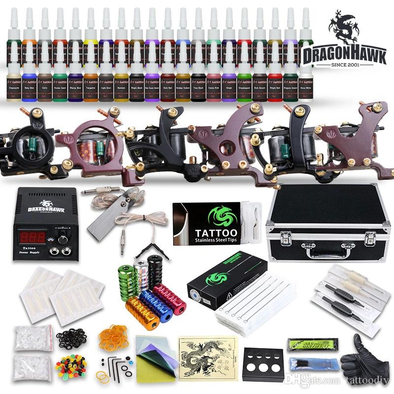 Complete Tattoo Kit 6 Machines Coils Guns 40 Color Inks Power Supply Needles Tips Tattoo Supply