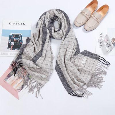 Winter Scarf Men Warm Soft Tassel Bufandas Cachecol Gray Plaid Woven Cotton Scar