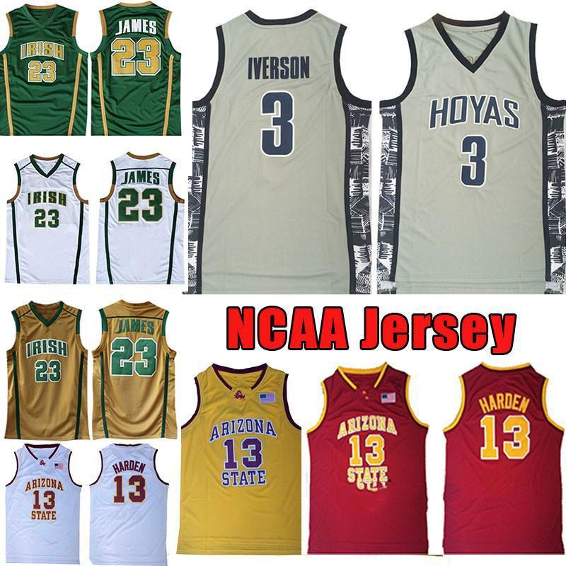 NCAA Georgetown Allen 3 Iverson Basketball Jersey College Universität James 13 Harden Arizona State Sun Devils High School Irisch # 23 James
