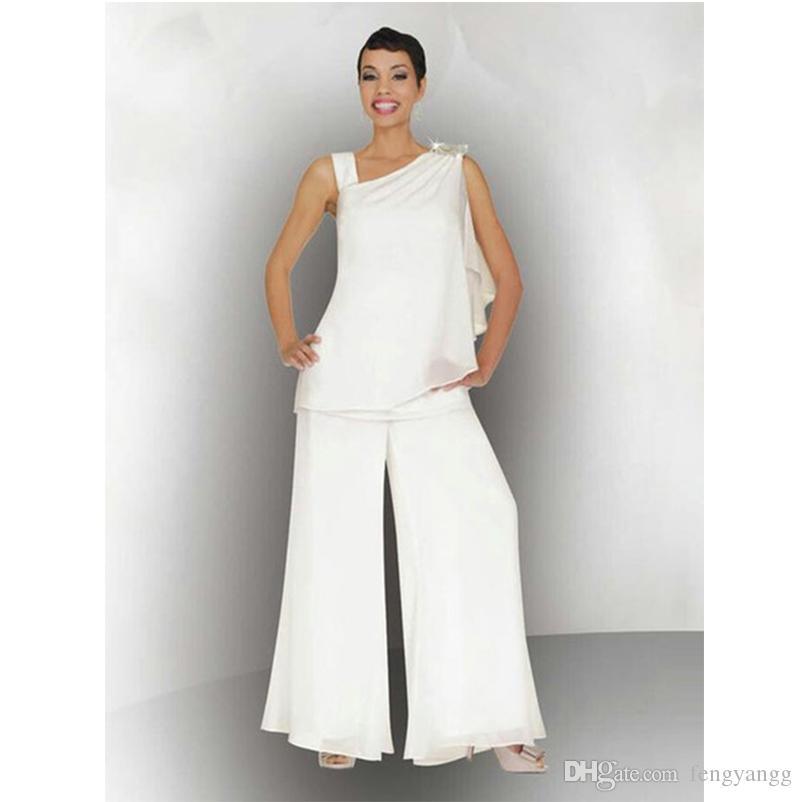 Elegante Mujer Madre De La Novia Novio Pantalón Traje Cristal Fruncido Más Tamaño Gasa Blanca Vestido de Invitado de Boda Formal Vestido de Fiesta de 2 Piezas