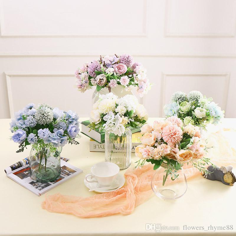 Artificial Peônia bando cabeça de flores Decorativas Do Partido Do Falso De Seda Flores Peônias Para Casa decoração Do Hotel DIY flores do casamento decoração para mesa
