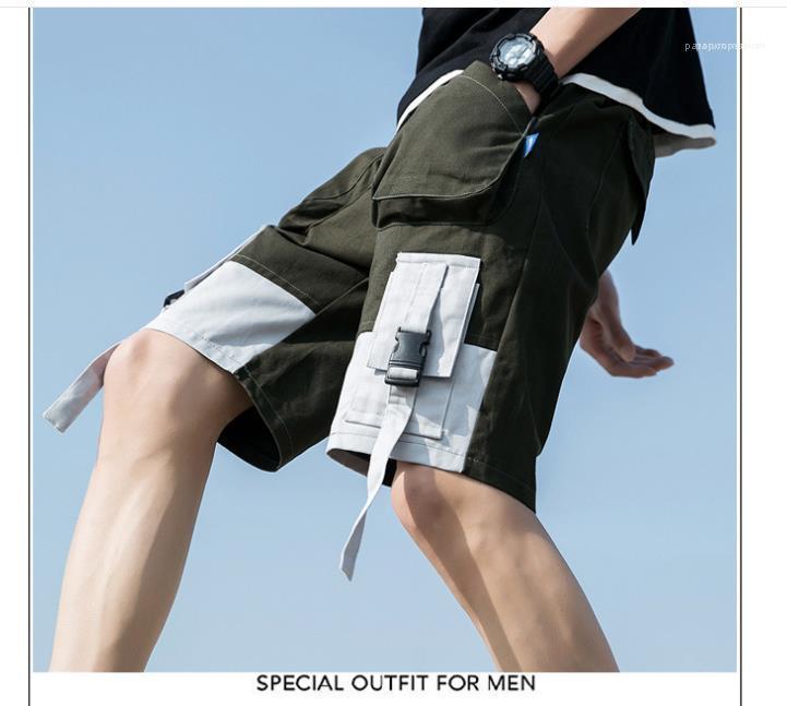 Hiphop ropa del color del verano del Mens del cargo Shorts Casual bolsillos sueltos de diseño Pantalones cortos de medio cuerpo sólido