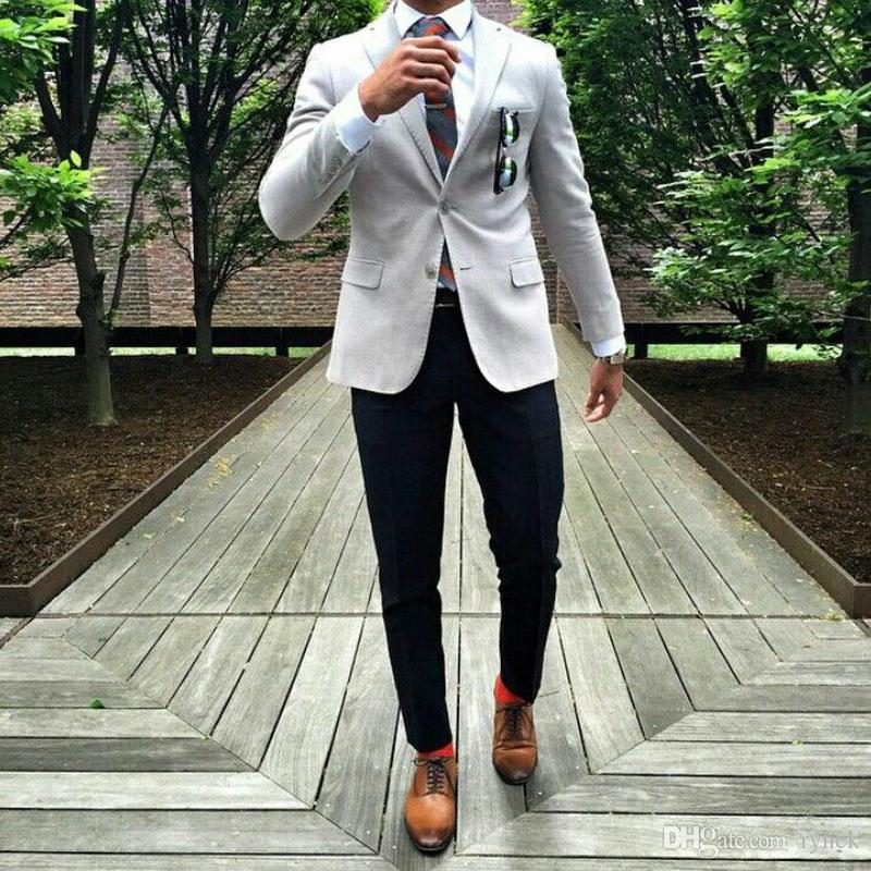 Casual Gray Men Suits for Wedding Man Suits Groom Tuxedos 2Piece Coat Black Pants Cotume Homme Slim Fit Terno Masculino Evening Party