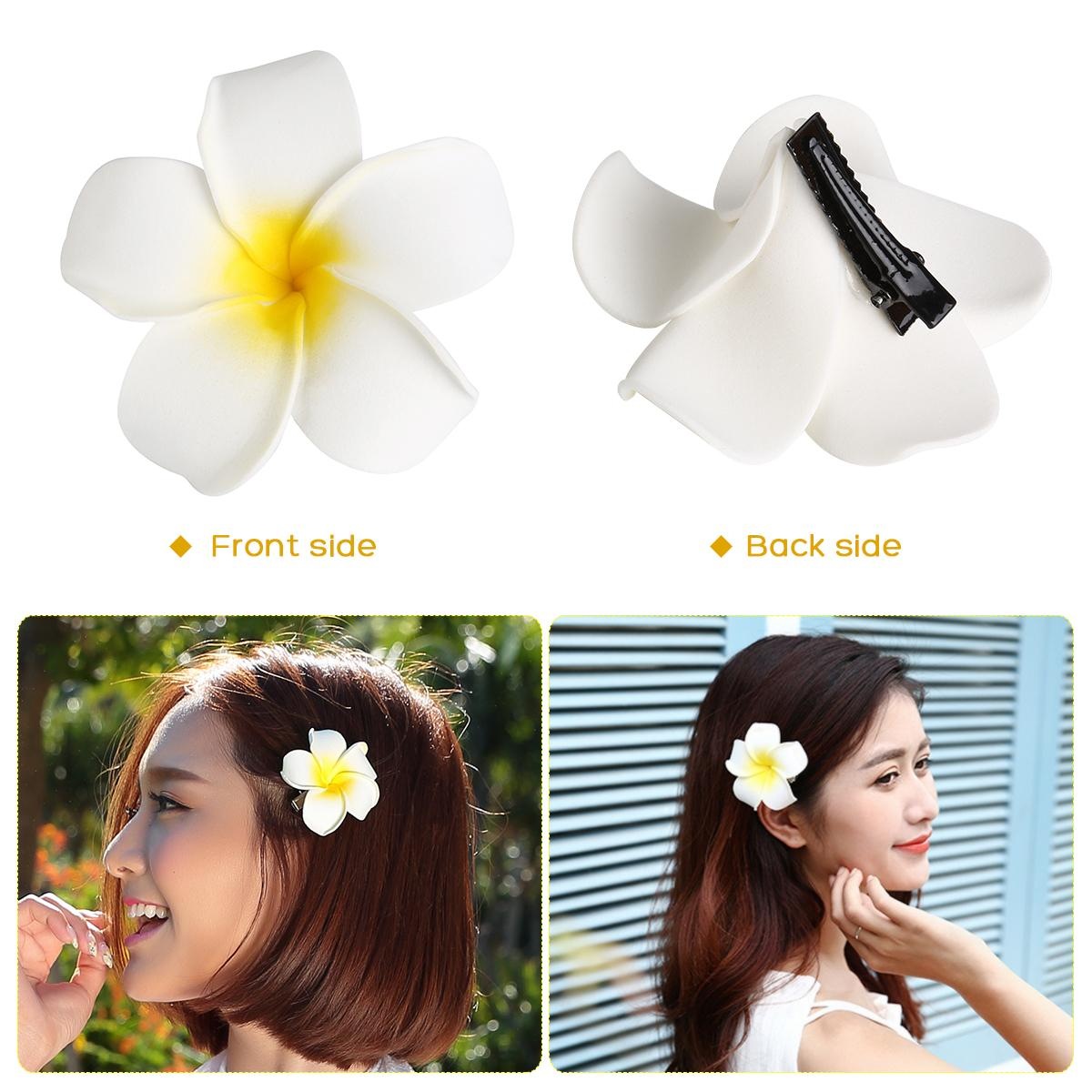 7cm Hawaii Flower Hair Clip Hairpin Simulation Egg Flower Headdress for Beach Luau Party (White with Yellow) 40pcs/set
