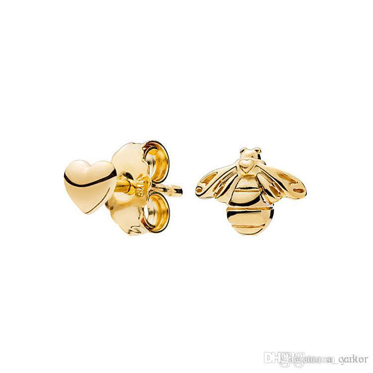 Mode 18 Karat vergoldet Biene und Herz asymmetrische Ohrring für Pandora 925 Silber Ohrstecker mit Original-Box-Set