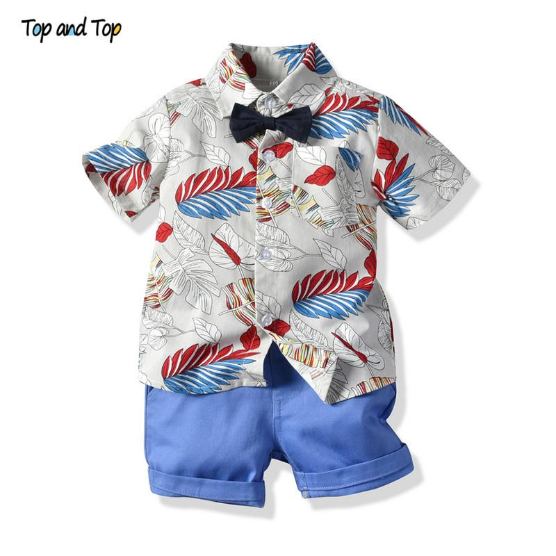 Top And Top Summer Boys Gentleman Clothes Sets Kids Bow Tie Printed Shirts Shorts Suit Children Clothing Set 2 Piece Boy Suits MX190803