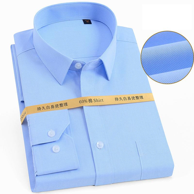 % 60 Pamuk Erkekler Biçimsel Uzun Kol Elbise Gömlek Düz Renk Mavi Beyaz Siyah Pembe İş İş Kolay bakım Kalın Sosyal Gömlek