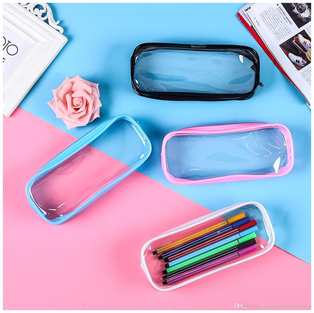 PVC Pen Bags Transparent Clear Case Cosmetic Bag Large Capacity Bag with Zipper Stationery Cosmetic Storage Student Pen Pencil Bag