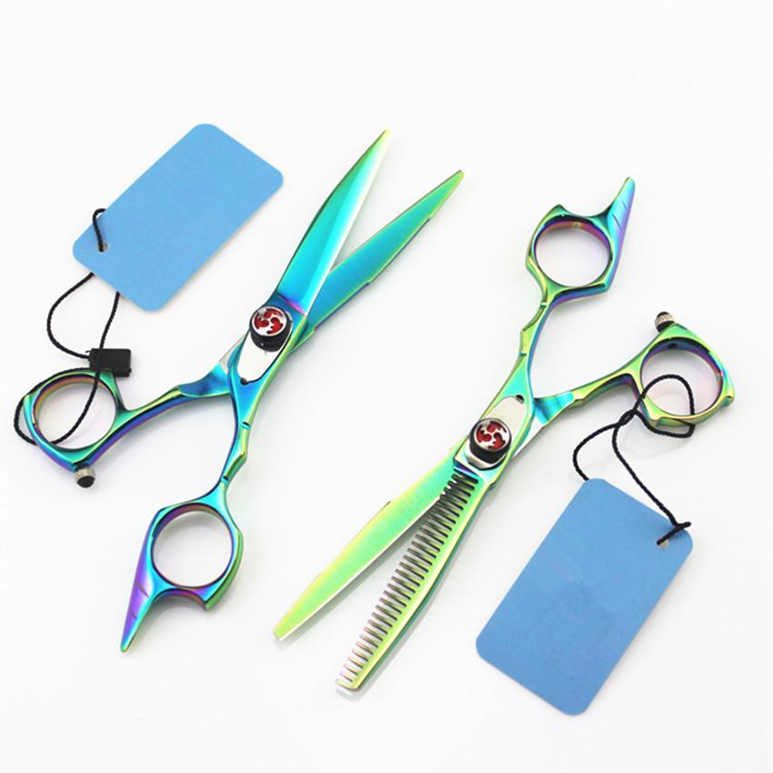 5.5 Inch Green Hair Scissors Tijeras Peluqueria Cutting Makas Thinning Shears Berber Hairdressing Scissors 2020 New Hot Sale