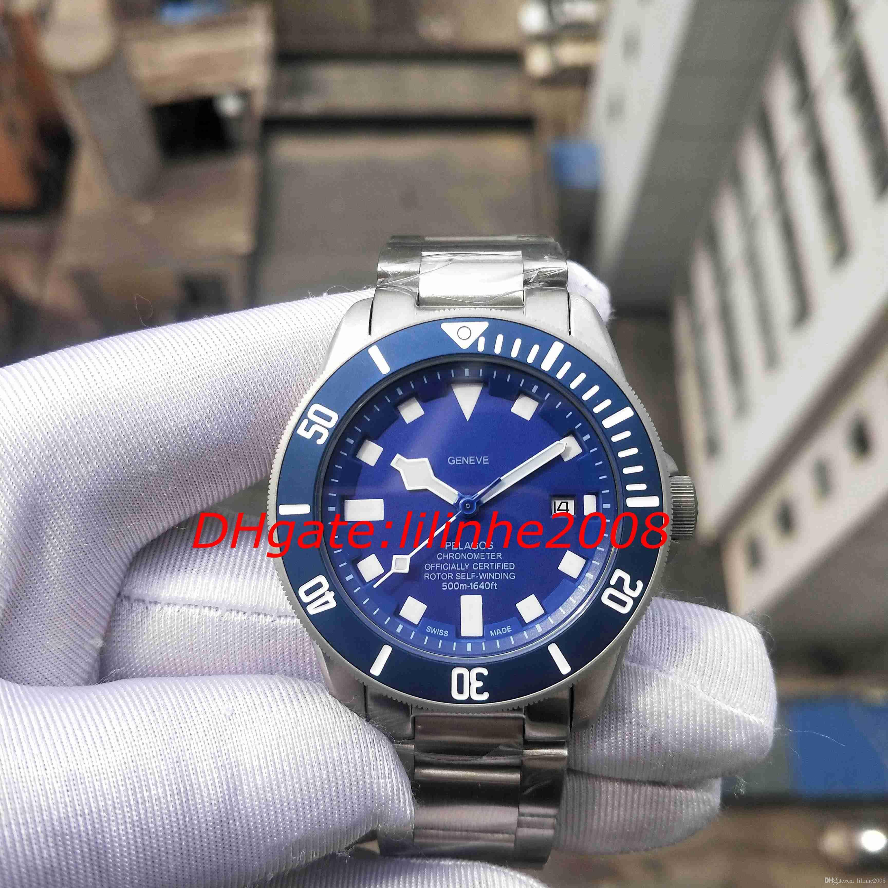 Melhor Qualidade Assista 79230DK 25600TN 25600TB GENEVE Relógios Ásia 2,813 movimento Calendário automático azul mostrador do relógio Masculino Relógio dos homens