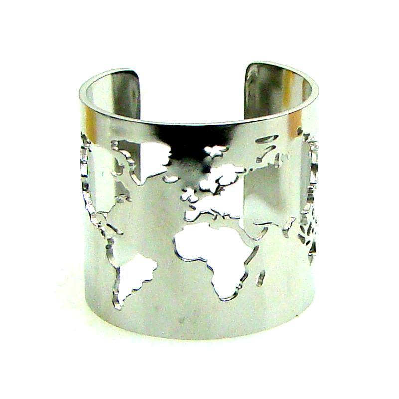Travel Peace Schmuck Edelstahl 20mm Wide World Cut-Out Feine Poliert Kreis Winkel Öffnende Verstellbare Fingerring