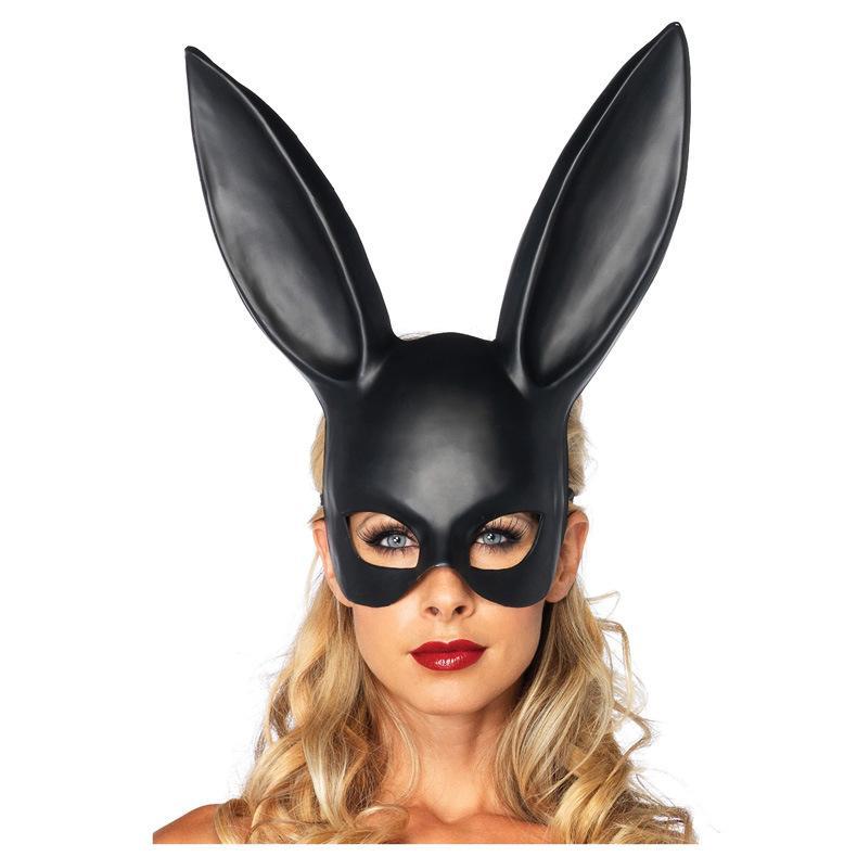 Negro atractivo de la máscara de conejo del oído muchacha de las mujeres blancas lindas orejas de conejo larga esclavitud máscara del traje de Cosplay del partido de la mascarada de Halloween Prop DBC VT0942
