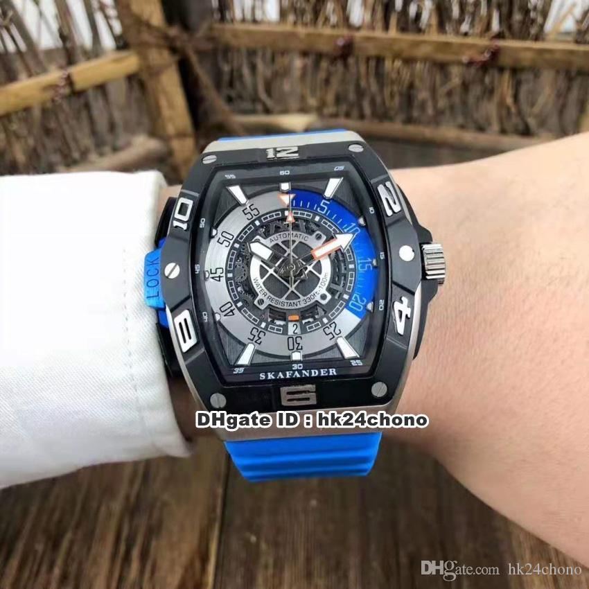 NUEVO 5 Estilo Skafander del azul de acero de Japón Miyota Autoamtic reloj para hombre de SKF 46 DV SC DT de acero inoxidable dial esquelético de la correa de goma Relojes para caballero